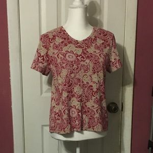 Croft & Barrow red and tan floral short sleeve top